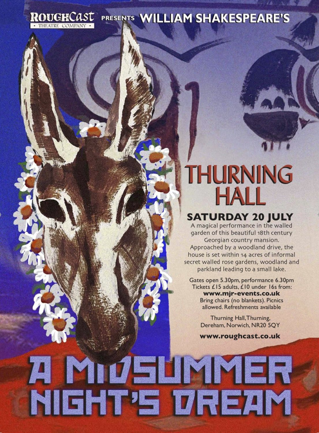 A Midsummer Night's Dream, Thurning Hall, Reepham Road, Thurning. NR20 5QY | Shakespeare's A Midsummer Night's Dream will be performed in the dreamy walled garden at Thurning Hall on Saturday 20th July 2019. | theatre, outdoors, shakespeare